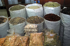 Exotic spices. Bags full of exotic spices on a green market Dubai, United Arab Emirates Stock Photo