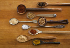 Exotic spices in antique spoons Royalty Free Stock Image