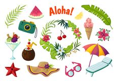 Exotic stickers. Summer party tropical collection of doodle fruits leaves cocktail flamingo, jungle vacation abstract vector illustration
