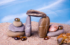 Exotic stones and shell Stock Photography