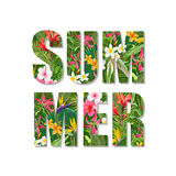 Exotic Summer Design. Tropical Flowers and Leaves Background. T-shirt Fashion Graphic. Stock Photo