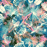 Exotic summer endless backgrounds, Abstract creative trendy colorful seamless pattern with tropic leaf seamless pattern Stock Photos