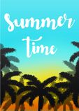 Exotic summer vacation background. Sky with palms vector illustration. Stock Photography