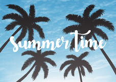 Exotic summer vacation background. Sky with palms vector illustration. Royalty Free Stock Photography