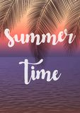 Exotic summer vacation background. Sunset vector illustration. Stock Photo