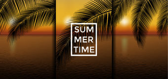 Exotic summer vacation backgrounds set. Sunset vector illustration. Summer time Royalty Free Stock Images