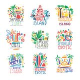 Exotic islands summer vacation colorful logo set. Exotic summer vacation colorful logo set. Tropical islands, Jamaica, Bali, Crete, Madagascar, Seychelles, Ibiza Royalty Free Stock Photo
