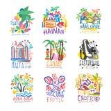 Exotic summer vacation colorful logo. Set. Tropical islands, Tahiti, Hawaii, Maldive, Malta, Canary, Bora Bora. Hand drawn template. Travel concept for agency Royalty Free Stock Images