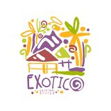 Exotic summer vacation colorful travel logo. Exotic island summer vacation colorful graphic design. Hand drawn template label with beach houses and trees. Travel Stock Images