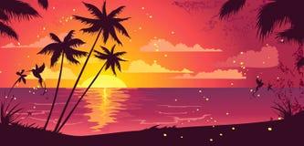 Exotic sunset royalty free illustration