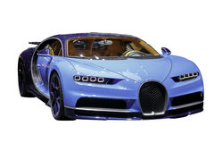 Exotic Supercar. Blue exotic supercar, Bugatti Chiron. isolated with clipping path included Royalty Free Stock Photos