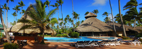 Exotic swimming pool in Dominican Republic Royalty Free Stock Photo