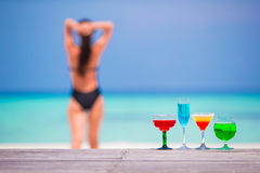 Exotic tasty cocktails in outdoor cafe background Royalty Free Stock Photos