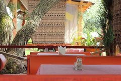 Exotic terrace restaurant under the open sky Royalty Free Stock Photos