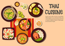 Exotic thai cuisine popular dishes flat icon Stock Image