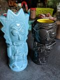 Exotic tiki drinking cups royalty free stock images