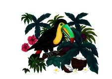 An exotic Toucan surrounded by Jungle Plants from my self created series `Tropical Birds 2017` vector illustration