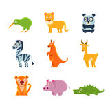 Exotic Toy Fauna Collection. Exotic Animals Fauna Collection Of Silly Childish Drawings Isolated On White Background. Funny Animal Colorful Vector Stickers Set Royalty Free Stock Photos