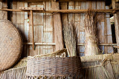 Exotic travels and adventures .Thailand trip.Tribe utensils and cabin Stock Photo