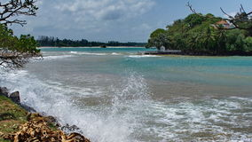 Exotic tropic sea shore with surf in Sri Lanka Royalty Free Stock Photos