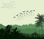 Exotic tropical background beautiful with flying birds for Birds migratory day Royalty Free Stock Image