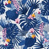 Exotic tropical  background with hawaiian plants. And flowers. Seamless summer bright tropical pattern with monstera and sabal palm leaves, guzmania flowers Stock Image