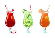 Exotic tropical beach bar menu set. Alcohol cocktails - mojito, strawberry, Mai Tai orange. Exotic tropical beach bar menu set. Vector Summer isolated collection stock illustration
