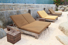 Exotic Tropical Beach beds Royalty Free Stock Photos
