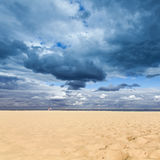 Exotic tropical beach, golden sand and beautiful clouds Royalty Free Stock Images