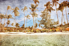 Exotic tropical beach in retro style Royalty Free Stock Photo