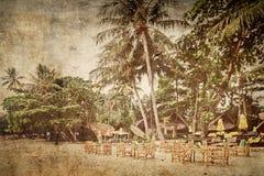 Exotic tropical beach in retro style Stock Photo