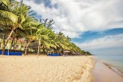 Exotic tropical beach under gloomy sky Stock Photos