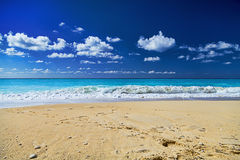 Exotic tropical beach with waves Royalty Free Stock Image