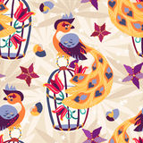 Exotic tropical bird on cage seamless pattern. Royalty Free Stock Images