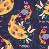 Exotic tropical bird on cage seamless pattern. Stock Image