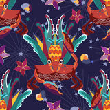 Exotic tropical crab seamless pattern. Stock Photo