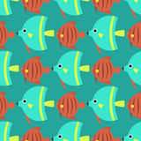 Exotic tropical fish race seamless pattern underwater ocean species aquatic strain nature flat vector illustration. Decorative wildlife sort cartoon fauna Royalty Free Stock Photos