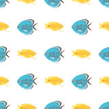 Exotic tropical fish seamless pattern colors underwater ocean species aquatic nature flat isolated vector illustration. Decorative wildlife cartoon fauna Stock Photo