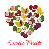 Exotic tropical fresh fruits heart vector poster Stock Photography