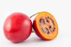 Exotic tropical fruit called tree tomato Solanum Betaceum. On white background Stock Photography