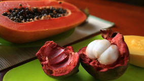 Exotic tropical fruit on table. Thai fruit. close-up.  stock video