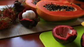 Exotic tropical fruit on table. Thai fruit. close-up.  stock video footage