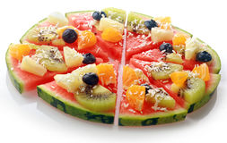Exotic tropical fruit watermelon pizza Royalty Free Stock Images