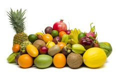 Exotic tropical fruits isolated on white stock images
