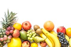 Exotic tropical fruits isolated on white royalty free stock photo