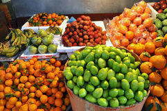 Exotic tropical fruits in the market Royalty Free Stock Photos