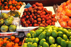 Exotic tropical fruits in the market Stock Photos