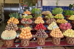 Exotic tropical fruits for sale in a market. In Funchal, Portuguese island of Madeira royalty free stock images