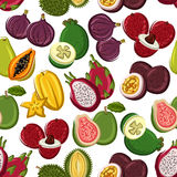 Exotic and tropical fruits seamless pattern. Fruits pattern. Vector seamless pattern of papaya, mango, carambola, feijoa, passion fruit maracuja, dragon fruit Stock Photos