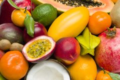 Exotic tropical fruits royalty free stock photos
